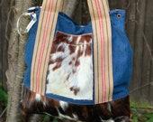 Denim Big Shoulder Bag with cow hide pocket