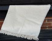 Cream Herringbone Pattern Blanket