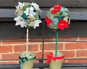 Handmade Christmas Topiary with white Poinsettias