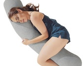 Kally Full Body Sleep Support Pillow - Best Pillow for Pregnancy, Neck or Back Pain, Includes Replaceable Washable cover - 160 x35cm, Grey