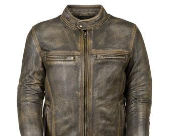 5dced1be Men's Vintage Biker Motorcycle Cafe Racer Leather Jacket