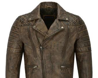 b61da9278 Men's motorcycle Biker Slim Fit Brown Real Distressed Leather Jacket