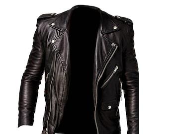 f23c56bdffa4 Men's Black Belted Biker Slim Fit Cafe Racer Motorcycle Real Leather Jacket