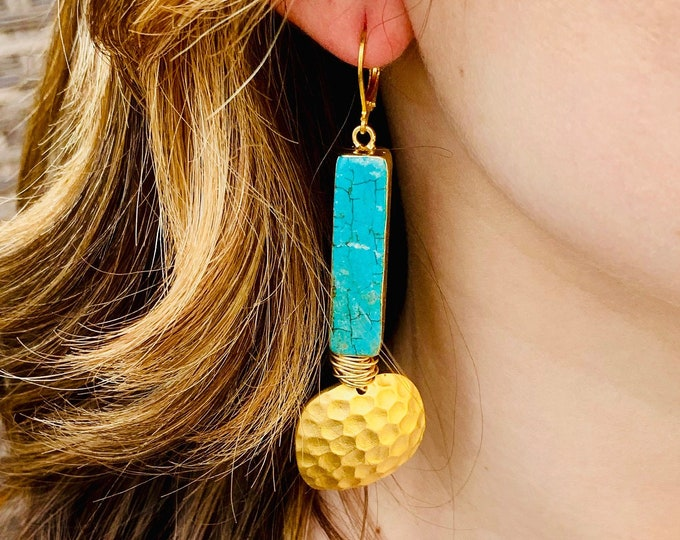 Turquoise earrings, Turquoise and gold earrings, Turquoise bars, Turquoise dangle earrings, gold earrings, turquoise lever backs