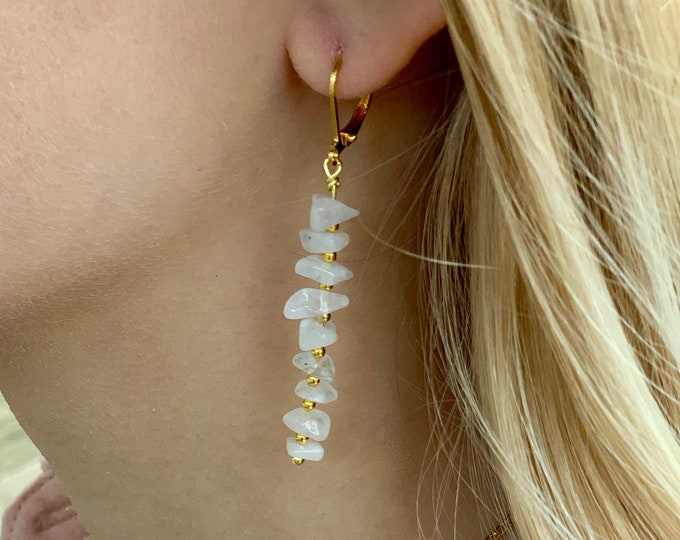 Moonstone earrings, genuine moonstone, moonstone dangle, moonstone and gold, gift for mom, moonstone chips, moonstone bar