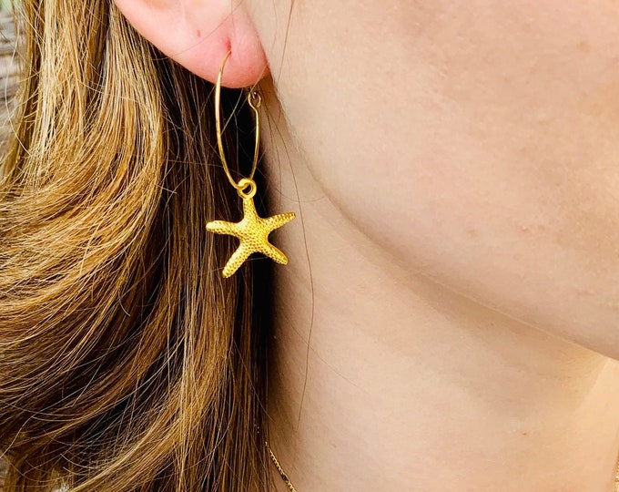 Starfish earrings, starfish hoops, starfish jewelry, gift for mom, gold starfish earrings, beach jewelry, starfish