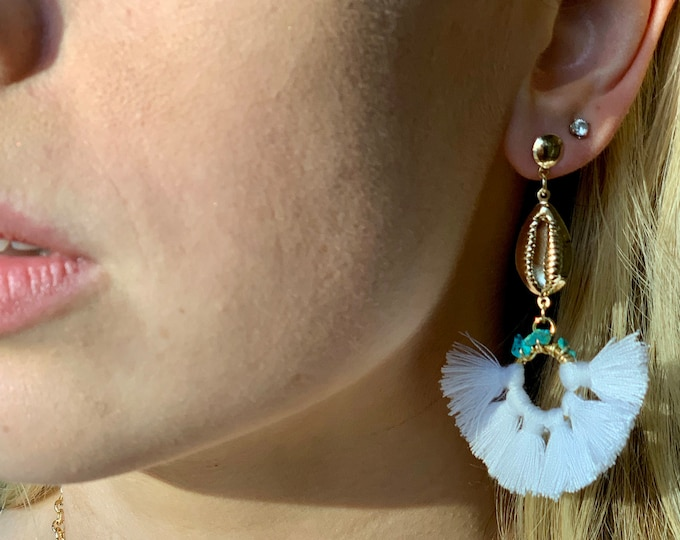 Tassel earring, Turquoise earring, Puka Shell Earring, Cowrie Shell earring, white tassels, seashell earring, Graduation gift, Gift for mom
