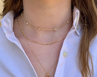 Diamond choker, diamond station necklace, April birthstone, cubic zirconia necklace, Graduation gift, layering necklace, gift for mom