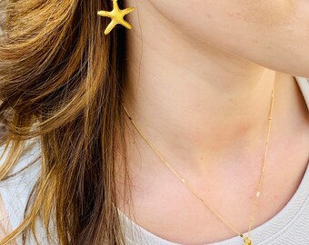 Starfish necklace, gold starfish, gold necklace, layering necklace, for mom, starfish, chain, gold filled necklace, for women, charms
