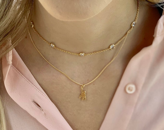 Monkey necklace, gold filled chain, layering necklace, everyday necklace, minimalist, gift for her, gold monkey, unique necklace, gold