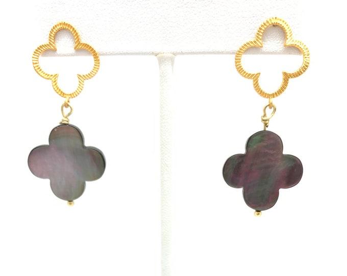 Gold cross earrings, mother of pearl, earrings handmade, Gift for Mom, dangle earrings, stud earrings, Graduation gift, dainty earrings
