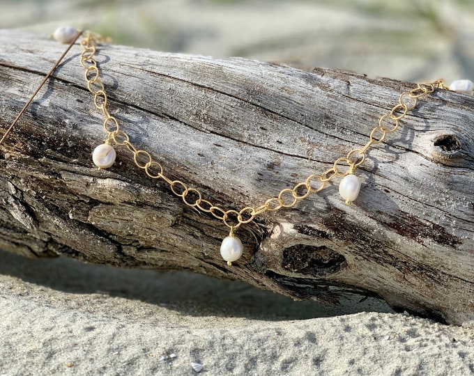 Natural pearl necklace, natural pearl pendant, genuine pearl, gold necklace, pearl necklace, adjustable chain, natural pearl stations,