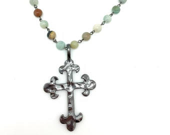 Rosary necklace, gunmetal cross, black metal, Graduation gift, faith jewelry, Gift for Mom,  gemstone necklace, christian jewelry