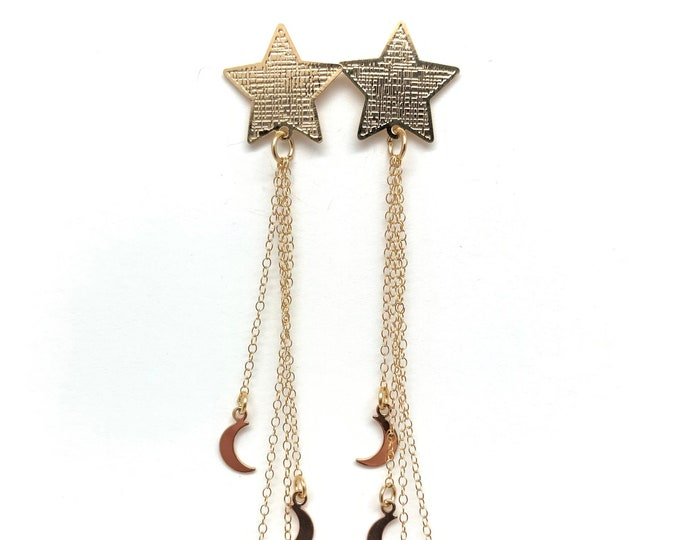 Star earrings, Gold Star earrings, Star dangle earrings, Star jewelry, gifts for her, moon earrings, gold moon earrings