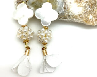 Mother of pearl, pearl earrings, flower tassel, tassel earring, studs, graduation gift, handmade, bridesmaids gift, bridal jewelry