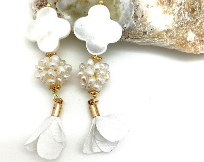 Mother of pearl, pearl earrings, flower tassel, tassel earring, studs, graduation gift, handmade, bridesmaids gift, bridal jewelry