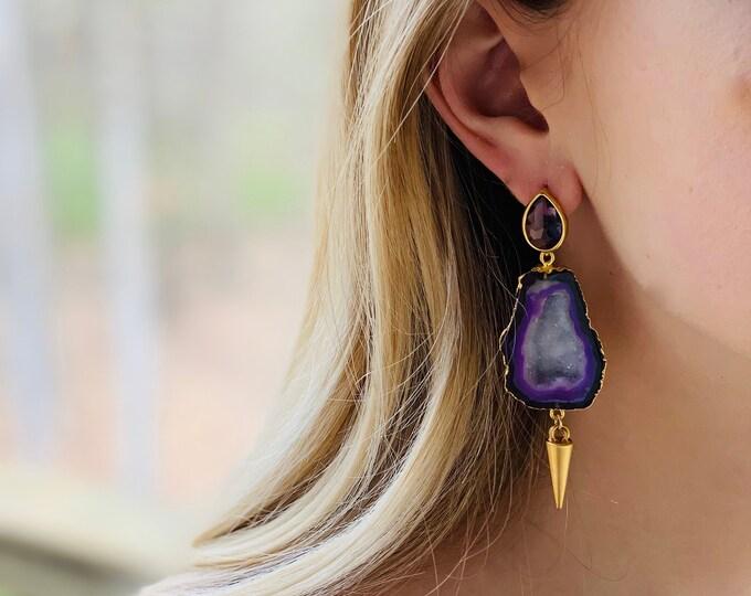Blue druzy earrings, geode earrings, druzy earrings, stud earrings, Blue stud earrings, druzy studs, blue druzy jewelry, gift for mom
