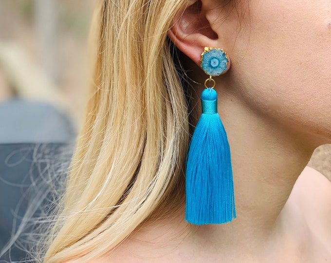 Blue solar quartz studs with silk tassel, Graduation gift, 100% silk tassel, statement earring, Gift for Mom, quartz earring