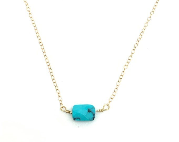 Turquoise, necklace, gold, dainty, layering, minimalist, jewelry, gifts for her