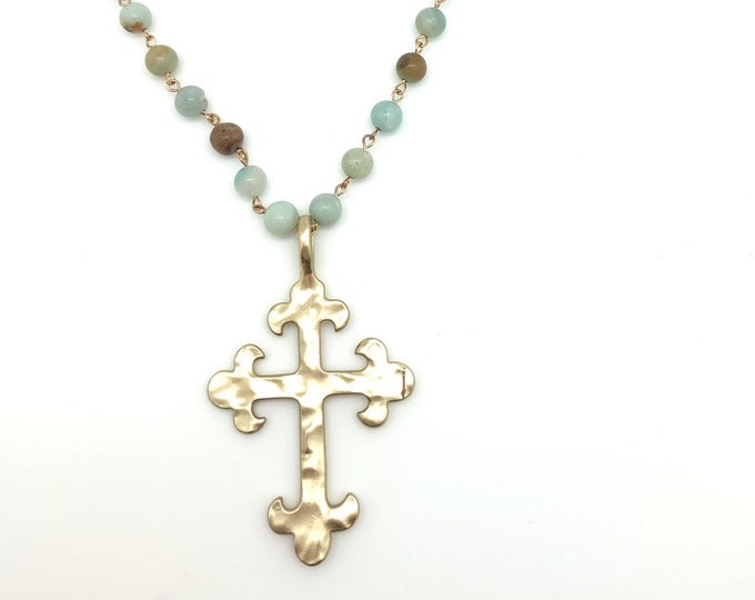 Rosary necklace, gold cross, gemstone necklace, statement necklace, Graduation gift, Gift for mom, hammered gold, Christian jewelry