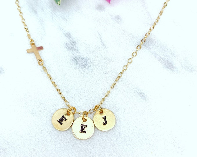 Initial charm necklace with cross, Cross necklace, Gifts for confirmation, Gifts for Graduation, Gifts for Mom, Gold filled chain