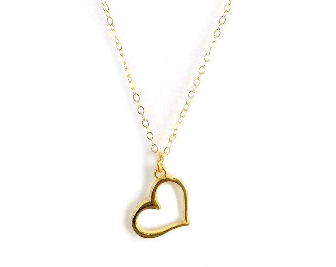 Gold heart necklace, floating heart, gold filled necklace, dainty necklace, heart jewelry, for women, chain, heart necklace, for mom, charms