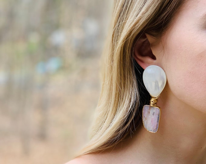 Pink opal and Mother of Pearl earrings, Gift for Mom, Stud earrings, Pearl studs, Opal studs, Opal and Pearl earrings, Pink opal earrings