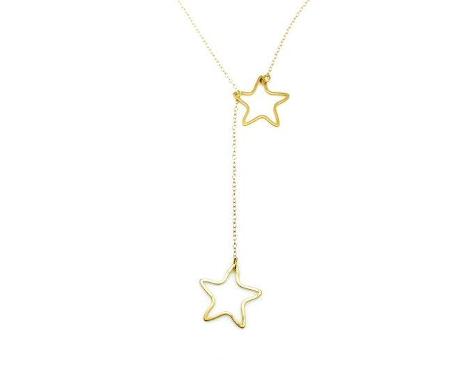 Gold star lariat necklace, star jewelry, gold choker, Graduation gift, Gift for Mom, dainty necklace, Gift for her, Star Lariat