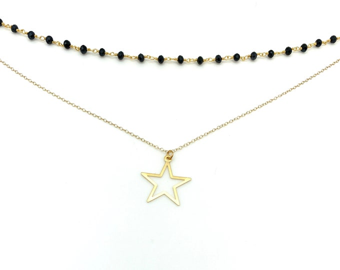 Gold star necklace, black rosary necklace, rosary choker, gold choker, star choker, layering necklace, gold star choker, everyday necklace