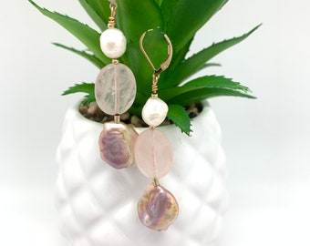 Natural Pearl and Pink Gemstone Dangle earrings, Pink natural pearl, Graduation gift, White natural pearl, Gift for Mom,