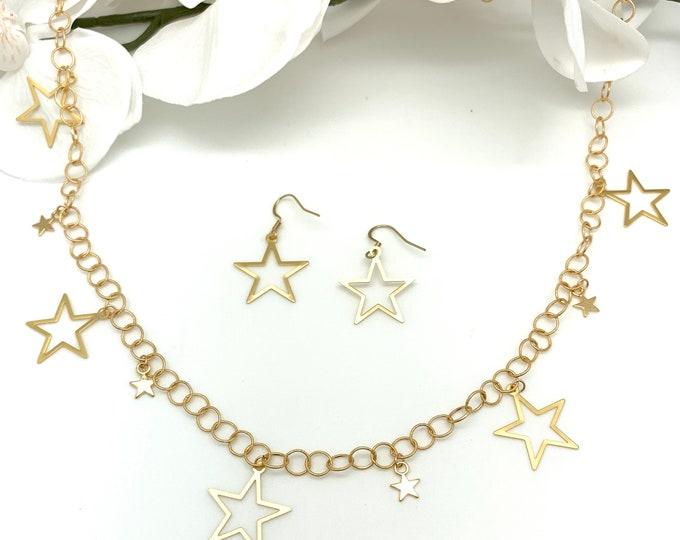 Gold star necklace, statement necklace, Star Charm necklace, 24 inch necklace, statement necklace, layering necklace, graduation gift