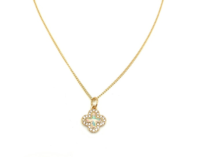 Opal pendant, CZ pendant, clover pendant, cross, gold filled chain, October birthstone, layering necklace, everyday necklace, opal necklace
