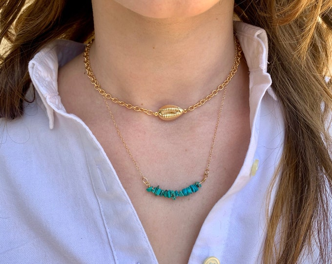 Turquoise chip necklace, Graduation gift, dainty necklace, genuine turquoise, layering necklace, December birthstone, everyday necklace