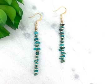 Turquoise earrings, turquoise dangles, turquoise bar, turquoise and gold, gift for mom, genuine turquoise, December birthstone