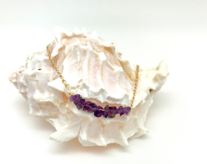 Amethyst bar necklace, amethyst chips, February birthstone, gold filled chain, amethyst jewelry, layering necklace, everyday necklace