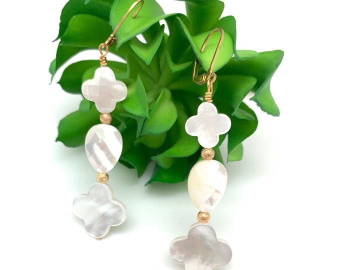 Mother of Pearl Dangle earrings, Cross Earrings, Clover Earrings, Graduation gift, Gift for  mom, Pearl earrings, Teardrop Pearl, Leverback