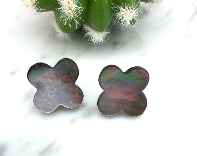 Black mother of pearl earrings, clover earrings, cross earrings, pearl earrings, black pearl earrings, cross pearl earrings, clover pearl