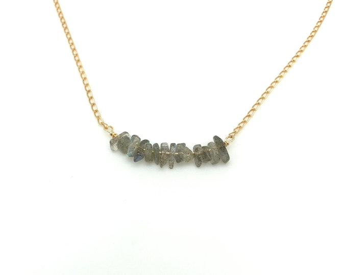 Labradorite necklace, genuine labradorite, labradorite bar necklace, March birthstone, February birthstone, gold filled necklace, everyday