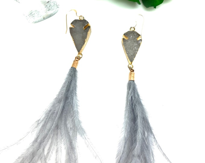 Arrowhead earrings, druzy earrings, feather tassels, statement earrings, gray earrings, grey earrings, tassel earrings, dangle earring,