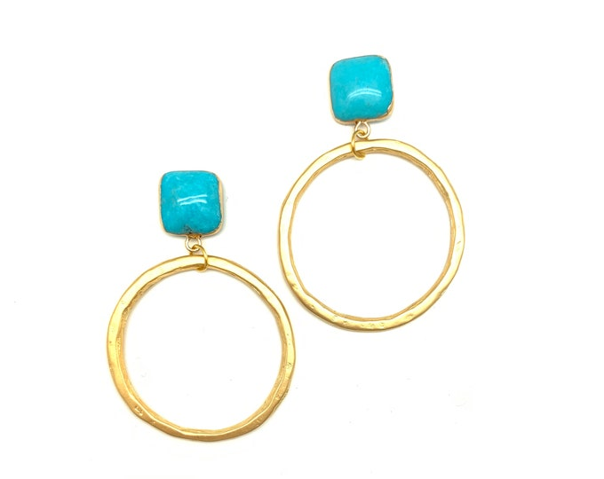 Turquoise studs with gold hoops, Gemstone studs, Gold hoop earrings, Graduation gift, Statement earrings, Gift for Mom, Gift for Her
