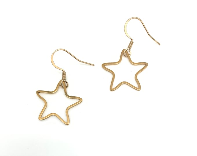 Star earrings, Gold Star earrings, Star dangle earrings, Star jewelry, gifts for her, Celestial jewelry, celestial earrings