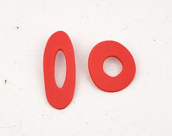 Unique design, asymmetrical, bold and big statement hoop oversized stud earrings // Collection: Free Flying