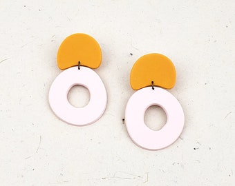 Large, bold, colorful, and bright organic shapes polymer clay drop hoop earrings // Collection: Bubbly