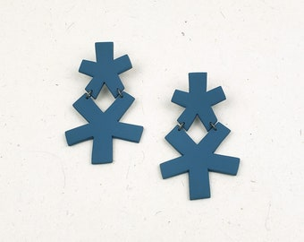 Playful and fun funky shape polymer clay statement earring // Collection: Bit of Spring