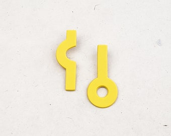 Playfully asymmetrical, fun, energetic, and unique original design stud polymer clay earring // Collection: Zing