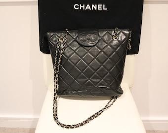 6130192ae8c4f6 CHANEL Vintage Black Lambskin Crossbody Shoulder Bag, Chanel Hobo Bag,  Tote, Bucket, Retro, Rare, 1980s