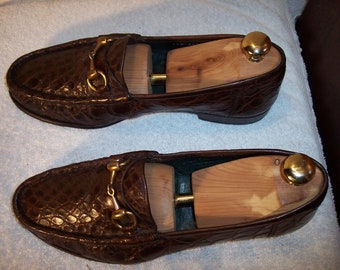 c823661e3 Vintage Gucci sz 8.5-9 Medium Horse Bit Brown Full Crocodile Loafers