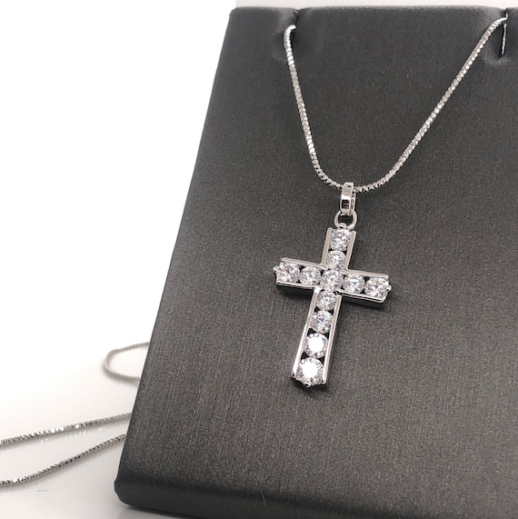 Rhodium-plated 925 Silver Floral Cross Pendant with 18 Necklace Jewels Obsession Silver Cross Necklace