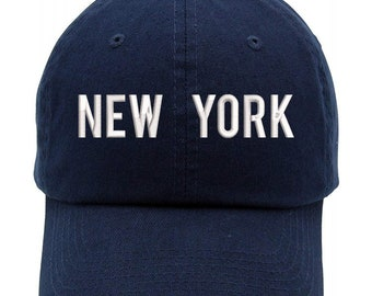 fe98c90d4a49c New York Text Embroidered Low Profile Soft Crown Unisex Baseball Dad Hat  (FREE SHIPPING)