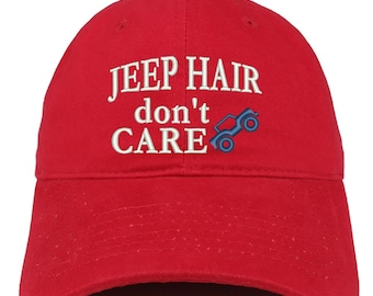 Jeep Hair Don t Care Car Embroidered Soft Cotton Dad Hat (FREE SHIPPING) 2d61dd380baa